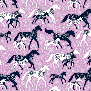 Unicorn Floral - navy & orchid