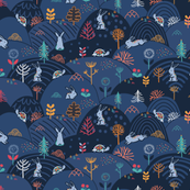 Tortiose & the Hare pattern. Cute woodland design.