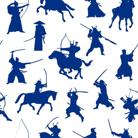 Blue Samurai // Small fabric by thinlinetextiles on Spoonflower - custom fabric