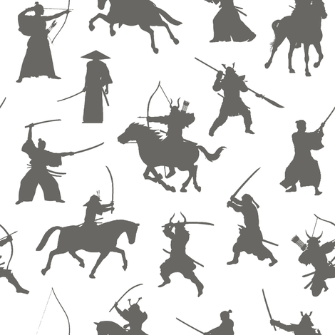 Grey Samurai // Small fabric by thinlinetextiles on Spoonflower - custom fabric