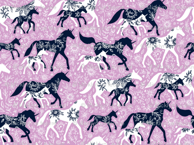 Extra tiny Unicorn Floral - navy & orchid