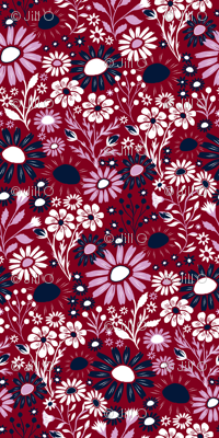 Hand Painted Floral - Orchid/Navy