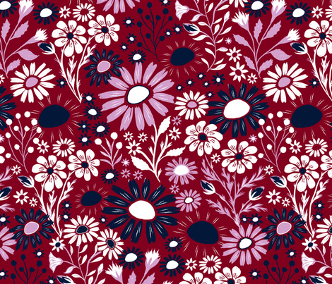 Hand Painted Floral - Orchid/Navy fabric by jill_o_connor on Spoonflower - custom fabric