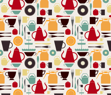 Vintage kitchen utensils fabric by avisnana on Spoonflower - custom fabric