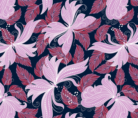 floral butterflies in lilac, scarlet, and navy fabric by vo_aka_virginiao on Spoonflower - custom fabric