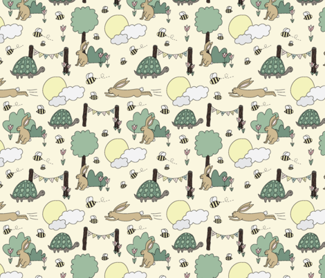Tortoise and the Hare  fabric by kayleighevansdesign on Spoonflower - custom fabric