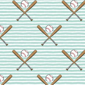 baseball bats on stripes (dark mint)