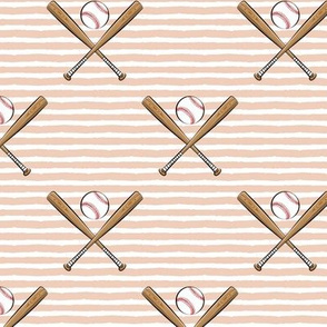 baseball bats on stripes (blush)