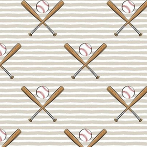 baseball bats on stripes (tan)