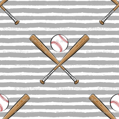 baseball bats on stripes (grey)