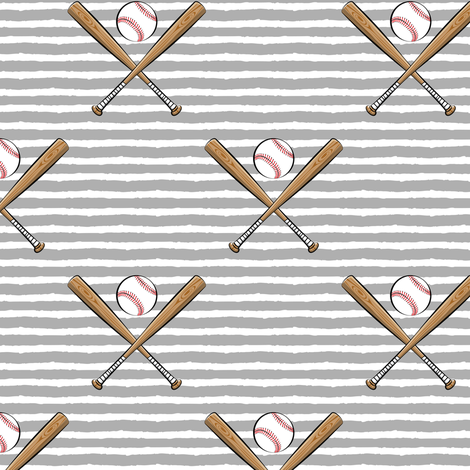 baseball bats on stripes (grey) fabric by littlearrowdesign on Spoonflower - custom fabric