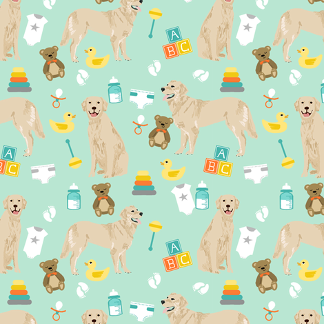 golden retriever baby fabric - cute expecting baby design - mint fabric by petfriendly on Spoonflower - custom fabric