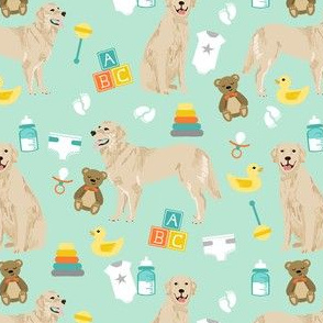 golden retriever baby fabric - cute expecting baby design - mint