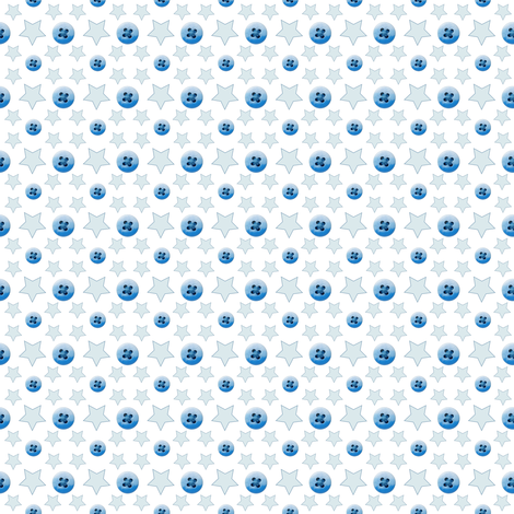 Buttons and Stars in Blue fabric by betz on Spoonflower - custom fabric