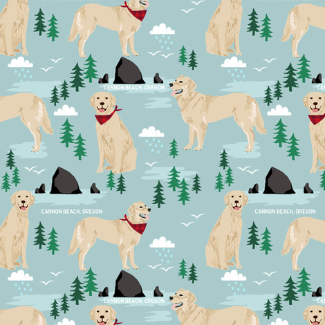 golden retriever cannon beach fabric - cute dogs on the beach in oregon - blue fabric by petfriendly on Spoonflower - custom fabric