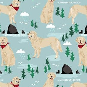 golden retriever cannon beach fabric - cute dogs on the beach in oregon - blue