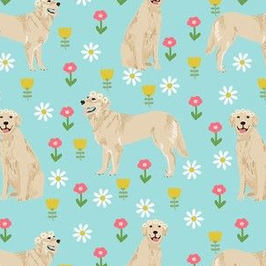 golden retriever flower child fabric - hippie flower crown dogs - cute flowers - blue