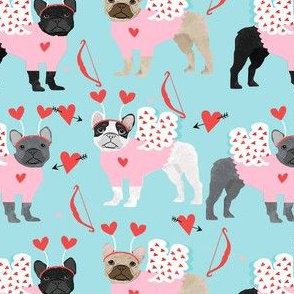 frenchie love bug french bulldog dog breed fabric blue