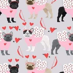 frenchie love bug french bulldog dog breed fabric grey