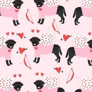 labrador black love bug black lab dog breed fabric pink