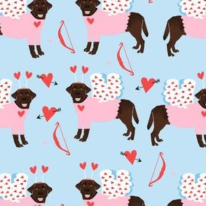 labrador chocolate love bug black lab dog breed fabric blue