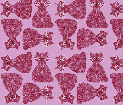 Knotty Cat - burgundy on orchid, big fabric by hippopottermiss on Spoonflower - custom fabric