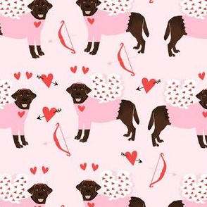 labrador chocolate love bug black lab dog breed fabric pink