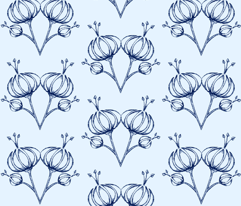 FOREIGN FLOWER TWIN/LIGHT BLUE fabric by shakeeta_draper on Spoonflower - custom fabric