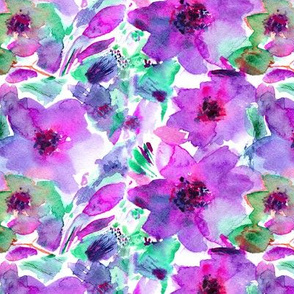 Violet watercolor flowers