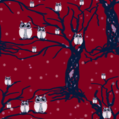 WINTER OWLS burgundy