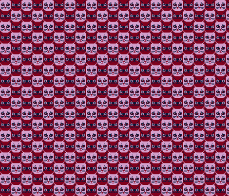 orchid and navy 8 bit cat and owl fabric by victorialasher on Spoonflower - custom fabric