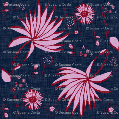 Orchid and navy floral