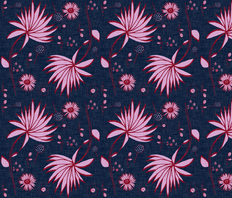Orchid and navy floral fabric by bruxamagica on Spoonflower - custom fabric