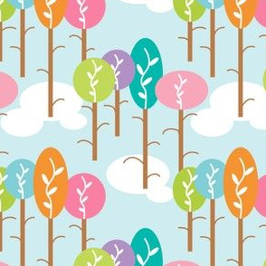 Pastel Colored Candy Trees, Bubble Shapes, Whimsical Forest