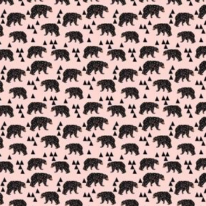 geo bear fabric // pink bear (TINY)