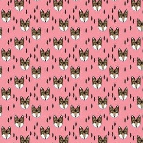 fox head // pink baby girl fox head fabric (TINY)