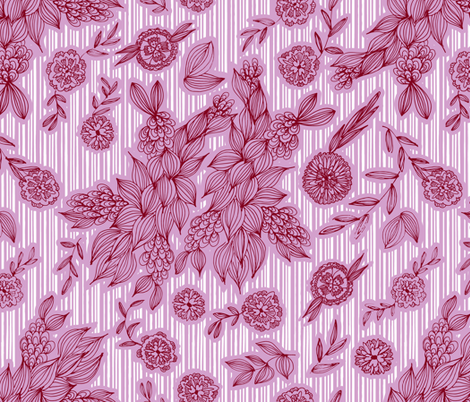 Calliope Candy Cane Floral fabric by sabrina_hoeke on Spoonflower - custom fabric