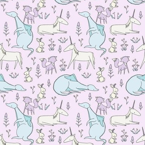 Enchanted Creatures Repeat  LILAC // by Sweet Melody Designs