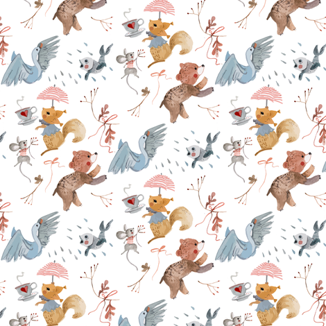 WM - Squirrel and Swan fabric by gomboc on Spoonflower - custom fabric