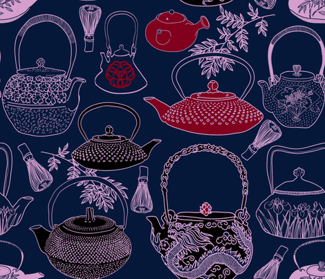 Japanese Vintage Teapots & Bamboo Whisks fabric by honoluludesign on Spoonflower - custom fabric
