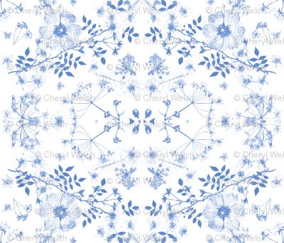 boho blue  faded roses