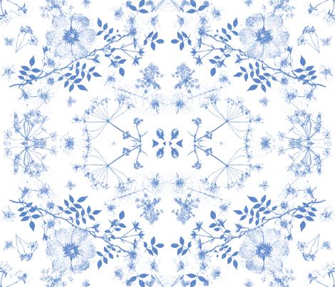 boho blue  faded roses fabric by mypetalpress on Spoonflower - custom fabric