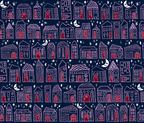 Starry Night in the City // Orchid + Navy Sweet Dreams at Home Sweet Home under a Twinkling Sky with Winking Moon fabric by zirkus_design on Spoonflower - custom fabric