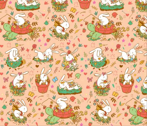 Bunnies and Daisies fabric by jonnielau on Spoonflower - custom fabric