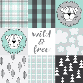 wholecloth-teal lion wild and free