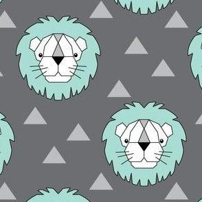 geometric teal lions on charcoal