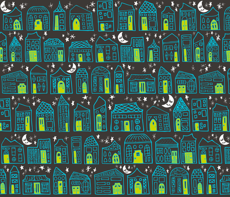 Starry Night in the City // Turquoise + Lime Sweet Dreams at Home Sweet Home under a Twinkling Sky with Winking Moon fabric by zirkus_design on Spoonflower - custom fabric
