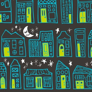 Starry Night in the City // Turquoise + Lime Sweet Dreams at Home Sweet Home under a Twinkling Sky with Winking Moon