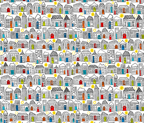 Happy Day in the City // Home Sweet Home in Quirky Neighborhood with Bright Smiling Sun // Black & White fabric by zirkus_design on Spoonflower - custom fabric