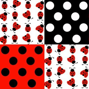 Red Ladybug Polka Dot Quilt Blocks